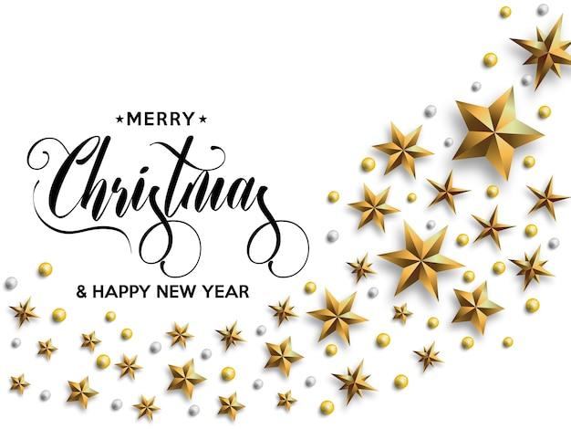 Новогодняя надпись, украшенная золотыми звездами