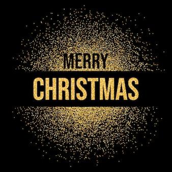 메리 크리스마스 비문 텍스트 골드 반짝이 배경 메리 크리스마스 빛나는 황금 반짝