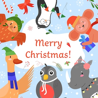 Merry christmas invitation vector illustration, cartoon flat cute animals greeting, celebrating happy christmas party event together