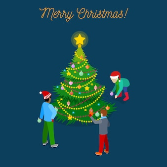 クリスマスツリーと子供たちとメリークリスマス等尺性グリーティングカード。図
