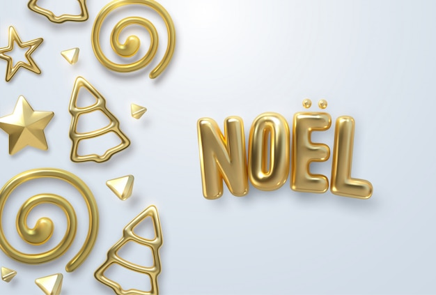 Merry christmas. joyeux noel.  holiday illustration. festive decoration of golden realistic 3d letters and ornament shapes on white background. sweet and dreamy xmas.