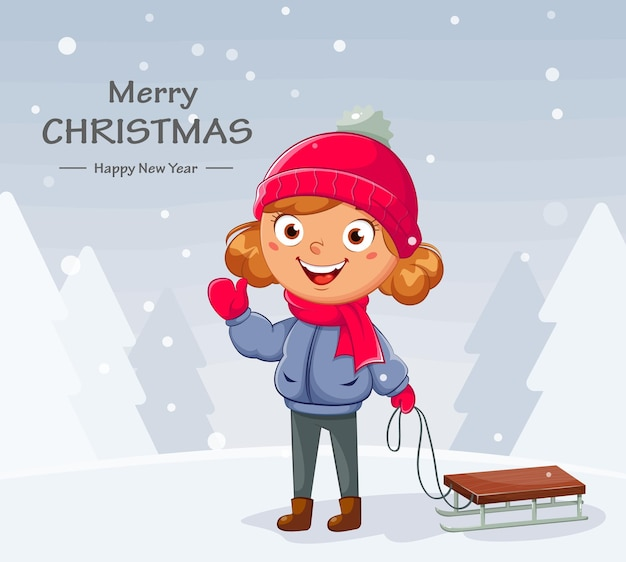 Счастливого рождества. малыш с санками. милая девушка мультипликационный персонаж катается на санях, зимних видов спорта. привет зимняя концепция. фондовый вектор иллюстрация