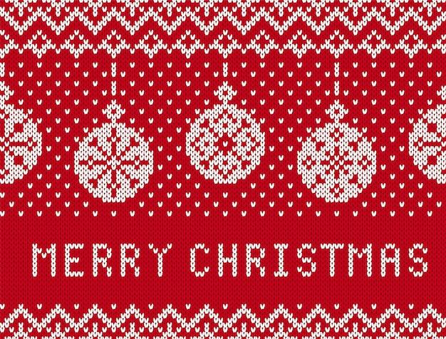 メリークリスマスのニット柄。ボールと赤いシームレスボーダー。ニットの風合い。クリスマスのお祭りの背景。休日の飾り。フェアアイルの伝統的なプリント。ベクトルイラスト。