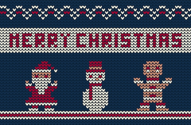 Merry christmas knitted background with cute characters