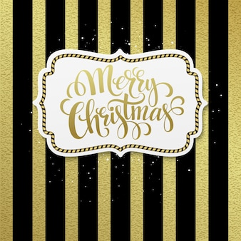 Merry christmas label with gold lettering, greeting card