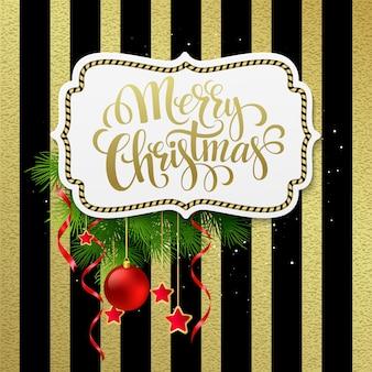 Счастливого рождества этикетка с золотыми буквами, открытки