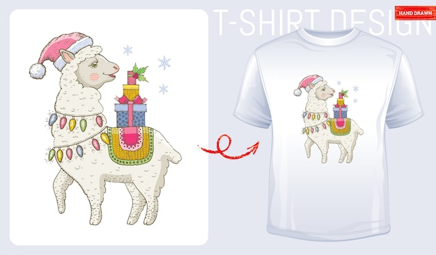 サンタクロースの帽子のメリークリスマスラマ。ラマtシャツのプリントデザイン。冬のファッション。