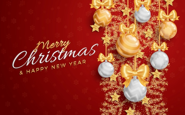 Merry christmas layout social media banner or flyer template.