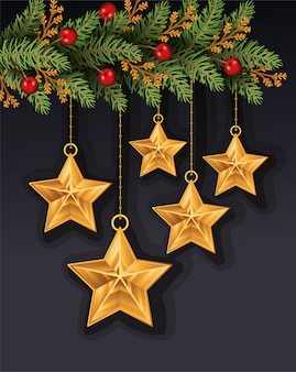 Merry christmas leafs and stars hanging decoration