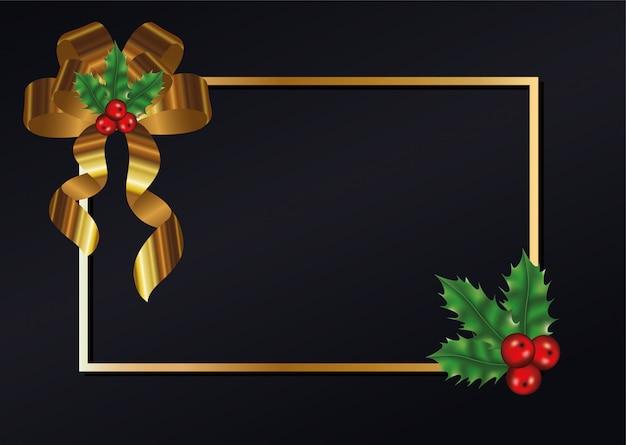 Счастливого рождества листья с вишней и бабочкой на фоне золотой раме