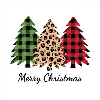 Merry christmas leopard print and buffalo plaid ornament christmas trees with leopard print