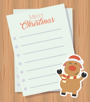 Merry christmas letter with cute reindeer character