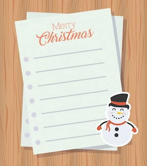 Merry christmas letter with cute snowman character