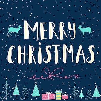С рождеством христовым надписи и дизайн каллиграфии. шаблон поздравительной открытки. рукописный плакат для дизайна футболки, дизайна карты или элемента домашнего декора. типография вектор