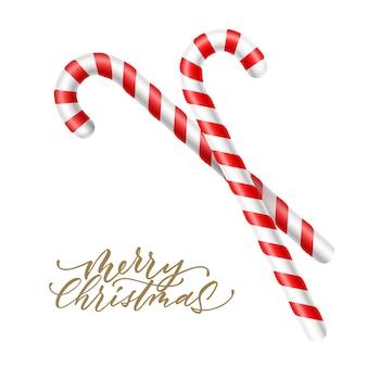 メリークリスマスレタリングと現実的なサトウキビキャンディー