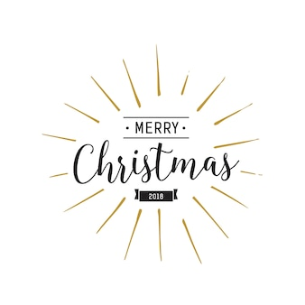 Merry Christmas Lettering and Ribbon