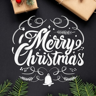 Merry christmas lettering background