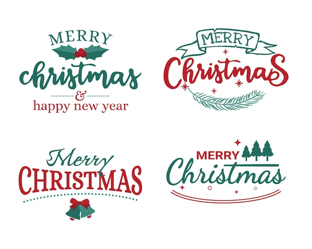 Merry christmas lettering badge on white background