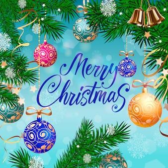 Веселые рождественские надписи, колокола и шары