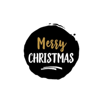 Merry christmas lettering in black round
