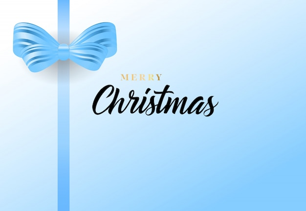 Merry christmas lettering and blue bow