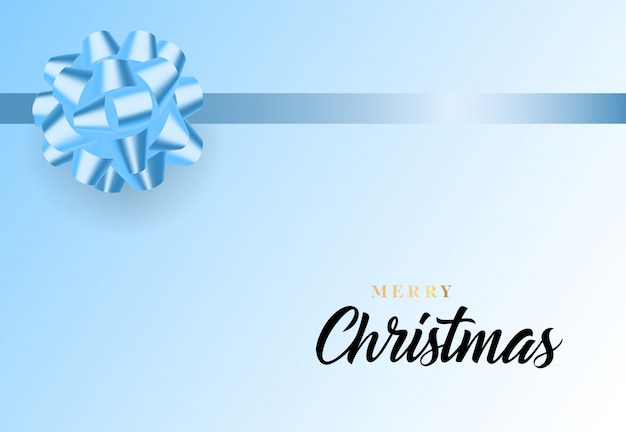 Merry christmas lettering and blue ribbon bow