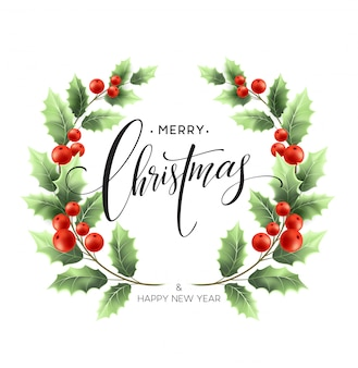 Merry christmas lettering card with holly