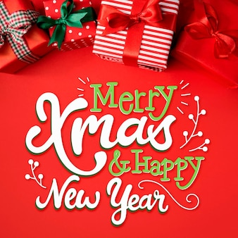 Merry christmas lettering on christmas image