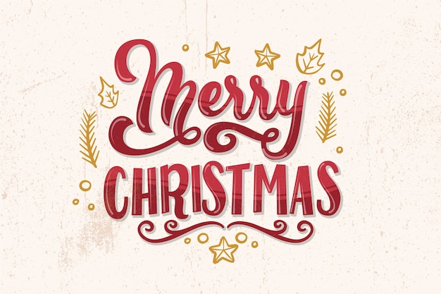 Merry christmas lettering on christmas photo