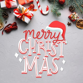 Merry christmas lettering on christmas pic