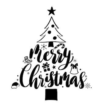 Merry christmas lettering and christmas tree