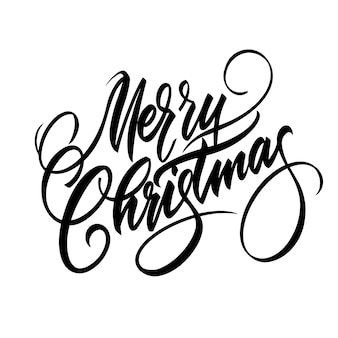 С рождеством христовым надписи. курсив. винтажный стиль векторные иллюстрации