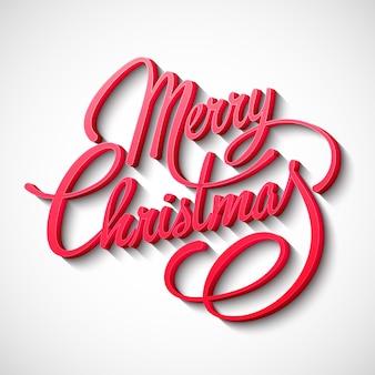 Merry christmas lettering design.  illustration.