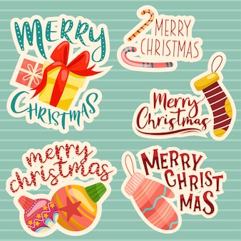 Merry christmas lettering design set.