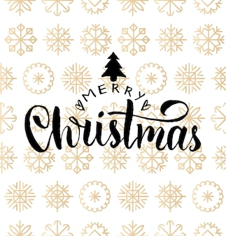 Merry christmas lettering design on snowflakes background. new year seamless pattern for greeting card template. happy holidays poster concept.