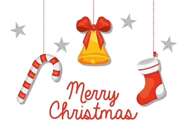 白い背景の上にぶら下がっている装飾的な要素とメリークリスマスのレタリングデザイン