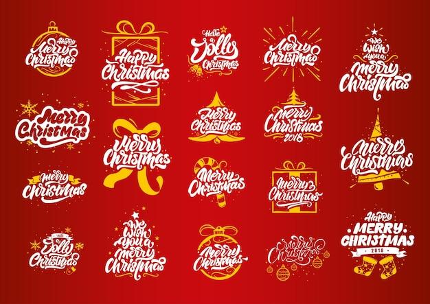 С рождеством христовым надписи дизайн большой набор