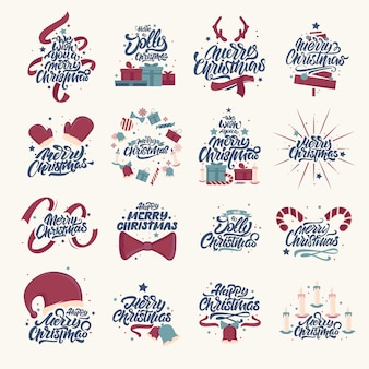 Merry christmas lettering designs