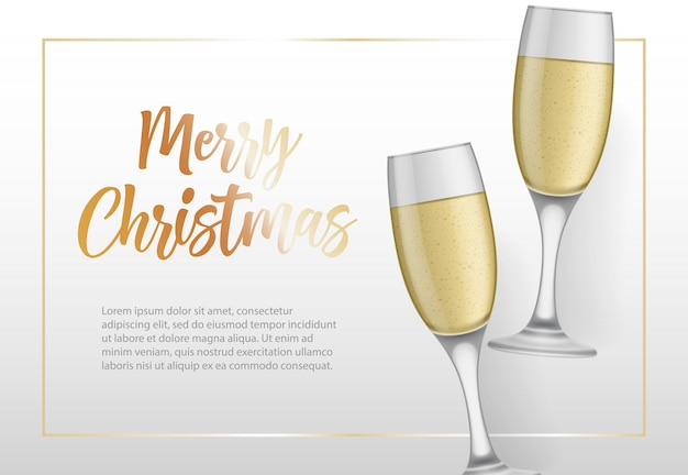 Merry christmas lettering in frame and goblets