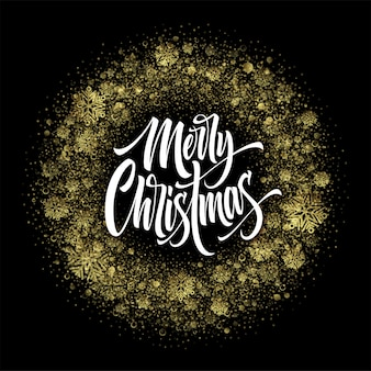 Merry christmas lettering in glitter frame. xmas confetti, golden dust and snowflakes round frame. merry christmas greeting isolated on black background. postcard design. vector illustration