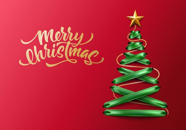 Merry christmas lettering on green lace-up green ribbon christmas tree with golden star. tree made of elegant lacing,