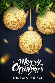 Merry christmas lettering greeting card for holiday.