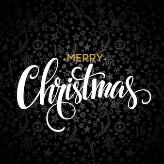 Merry christmas lettering, greeting card