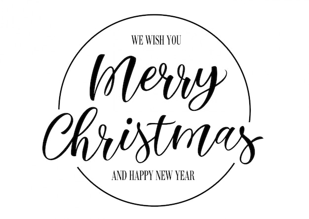 Веселые рождественские надписи в круге