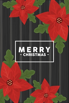 Счастливого рождества надписи в квадратной рамке с цветами на деревянном фоне