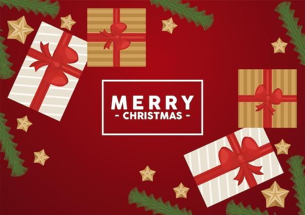 Счастливого рождества надписи в квадратной рамке с подарками и золотыми звездами