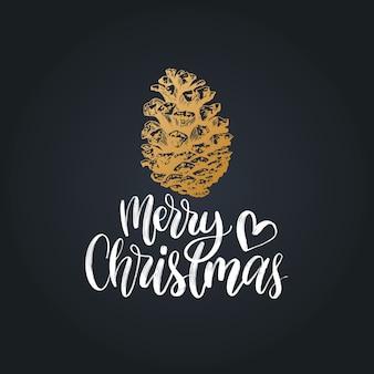 Счастливого рождества надписи, изолированные на черном