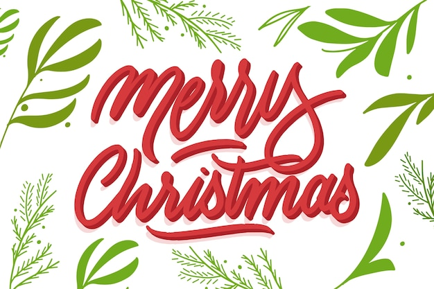 Merry christmas lettering and leaves