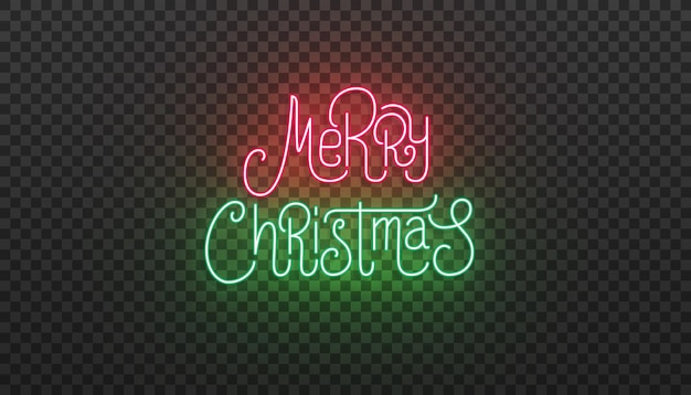 Merry christmas lettering neon sign. bright glowing typography for christmas celebration.