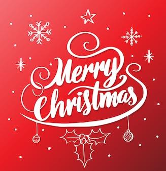 С рождеством христовым надпись на красном